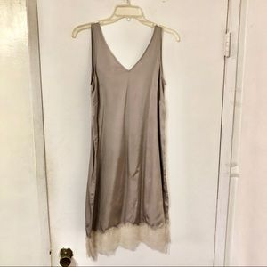 All Saints Silk Lace Trim Dress Small